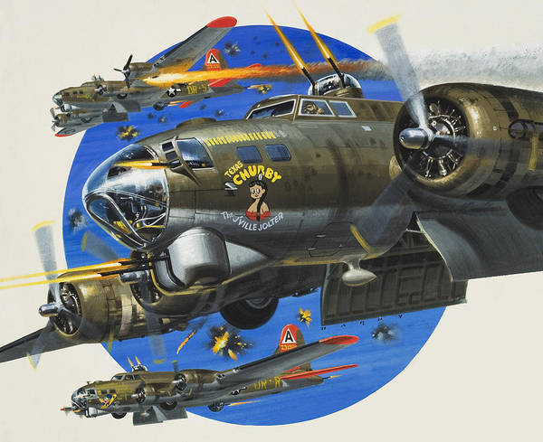 Bomber Painting - 91st Usaaf Bombardment Group by Wilf Hardy