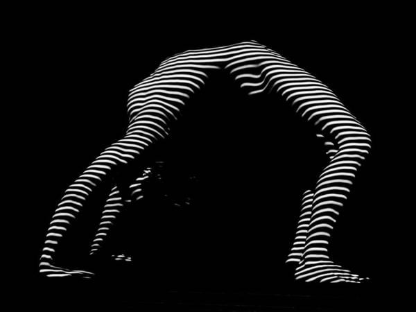 Photograph - 9454-dja Back Bend Yoga Zebra Girl Striped Curves Black White Photograph By Chris Maher by Chris Maher