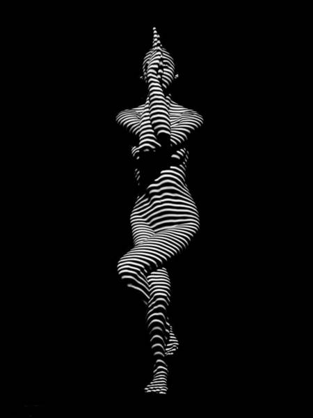 9486-dja Yoga Woman Illuminated In Stripes Zebra Black White Absraction Photograph By Chris Maher Art Print