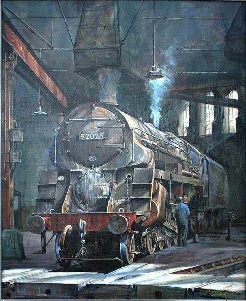 Wall Art - Painting - 9f On Saltley Shed 1958. by Mike Jeffries