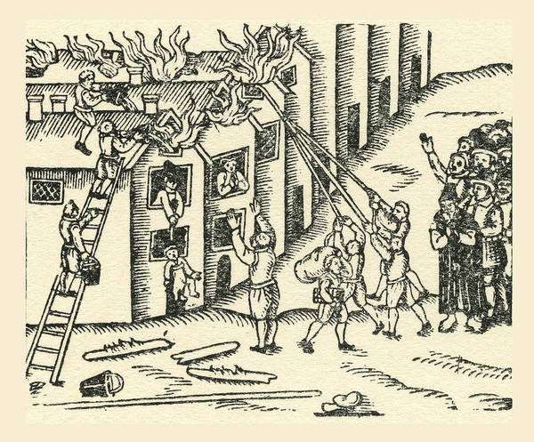 Brigade Drawing - A 16th Century Fire Brigade At Work by Vintage Design Pics
