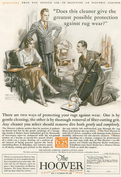 Wall Art - Drawing - A 1930 S Advertisement For The Hoover by Vintage Design Pics