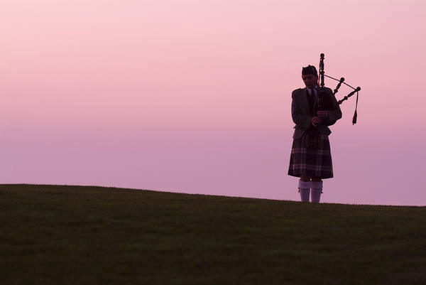 A Bagpiper On A Golf Course Art Print