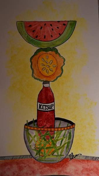 Catsup Painting - A Balanced Meal by Lynne Hernandez
