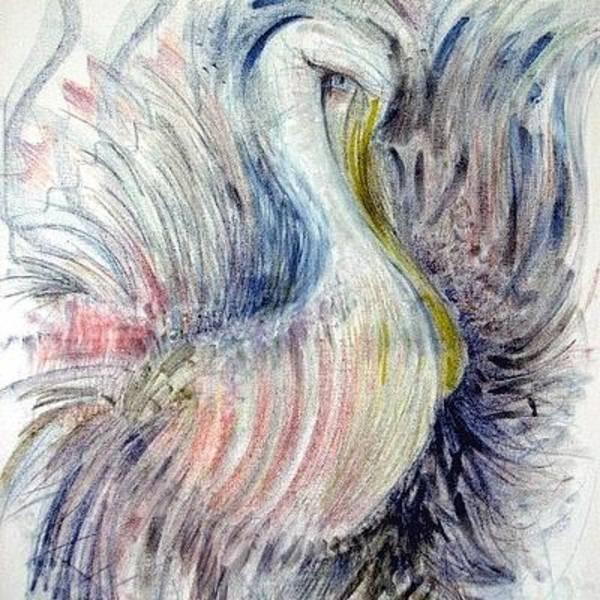 Painting - Gull Thrashing In The Oil by Rosanne Licciardi