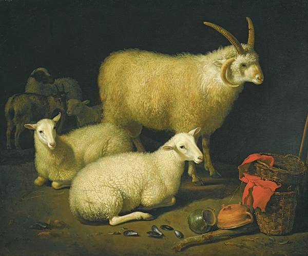 Aelbert Cuyp Painting - A Barn Interior With A Four-horned Ram by Aelbert Cuyp