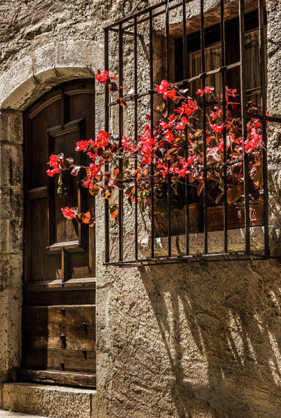 Photograph - A Barred Window And Door  With A Red Begonia And Contrasty Shadows Saint Paul De Vence France by Maggie McCall