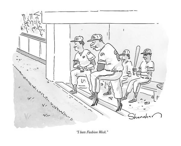Shoe Drawing - A Baseball Player Leans Out Of The Dugout by Danny Shanahan