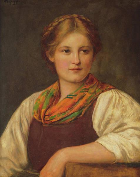 Plaits Painting - A Bavarian Peasant Girl by Franz von Defregger