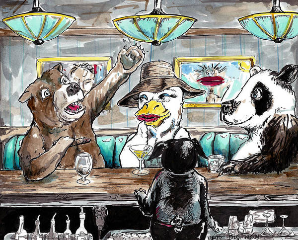 Panda Drawing Painting - A Bear A Duck And A Panda Walk Into A Bar by Big Tasty