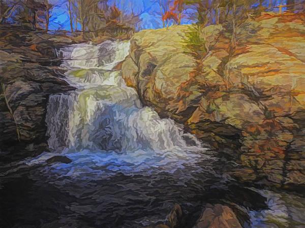 Digital Art - A Beautiful Connecticut Waterfall. by Rusty R Smith
