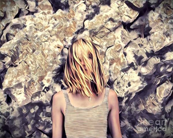 Dressed Up Mixed Media - A Beautiful Woman In Front Of A Stone Wall by Ana Skoric