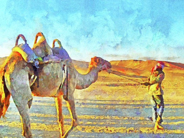 A Bedouin And His Camel Art Print