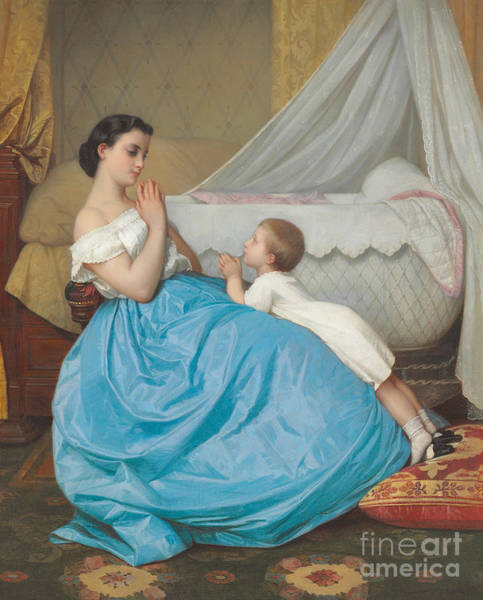 Painting - A Bedtime Prayer by Auguste Toulmouche