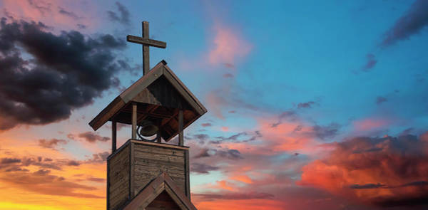 Rood Wall Art - Digital Art - A Bell Tower With Cross At Sunset by Derrick Neill