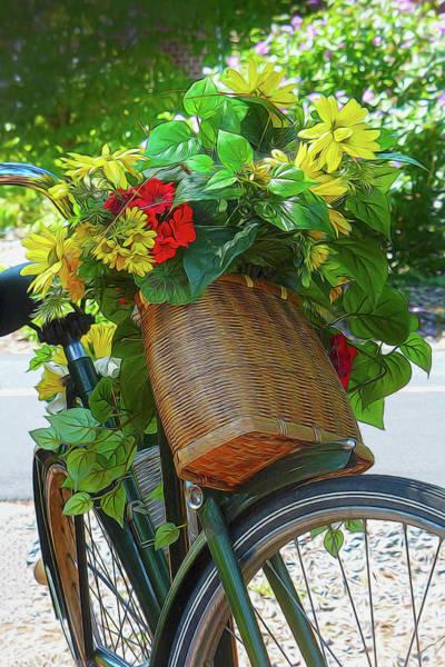 Wicker Basket Digital Art - A Bicycle Of Flowers by Robert Meyerson