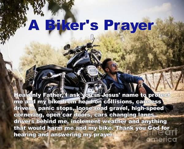 Pray For Love Wall Art - Photograph - A Biker's Prayer by Philip Jones