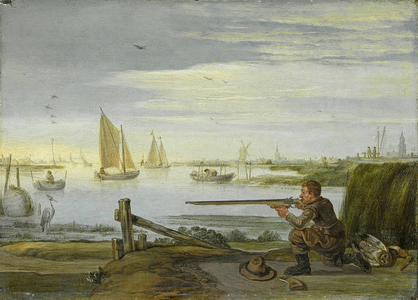 Wall Art - Painting - A Bird Hunter On A Riverbank by Arent Arentsz