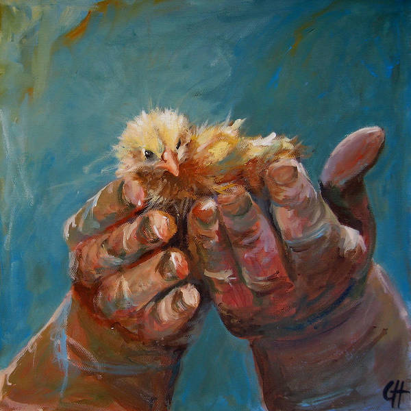 Wall Art - Painting - A Bird In The Hand by Cari Humphry