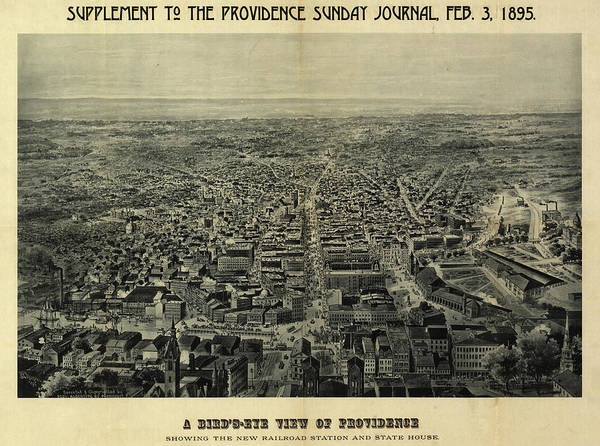 New York City Map Drawing - A Bird's-eye View Of Providence Showing The New Railroad Station And State House by Chapin