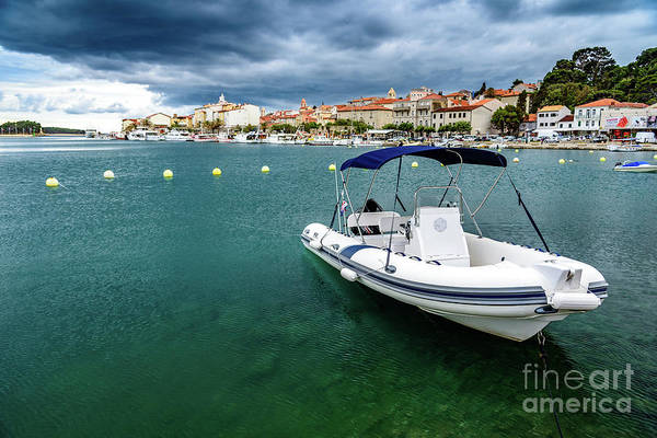 Photograph - A Boat Floating In Rab, Croatia by Global Light Photography - Nicole Leffer