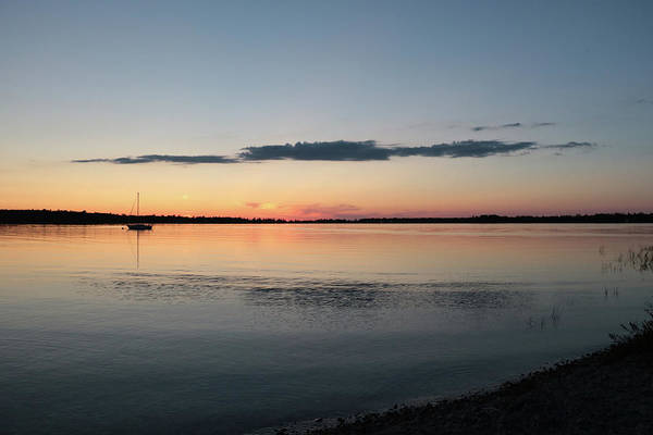 Photograph - A Boat On The Lake At Sunset, Crystal Point, Presque Isle by Kelly Hazel