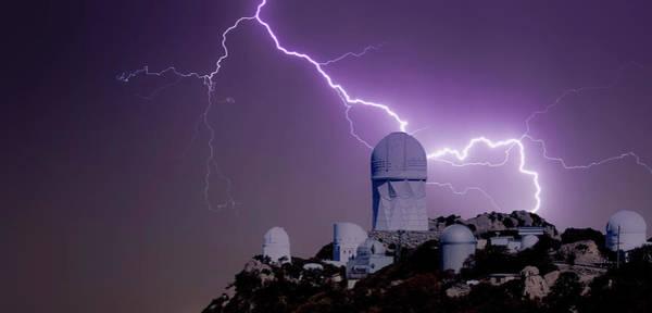 Purple Rain Digital Art - A Bolt Of Lightning Over An Observatory by Derrick Neill