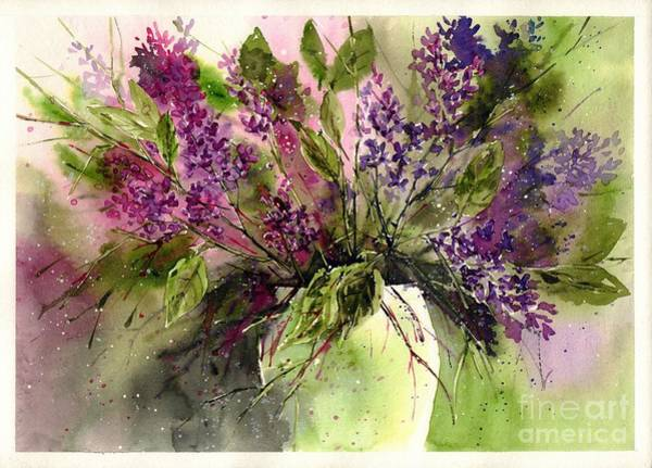 Maine Wall Art - Painting - A Bouquet Of May-lilacs by Suzann's Art
