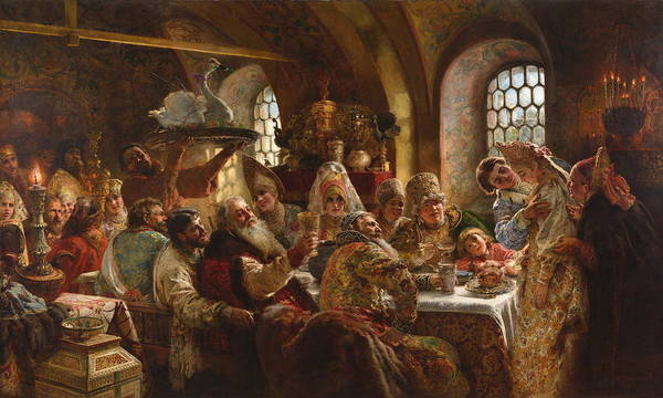 Russian Orthodox Church Painting - A Boyar Wedding Feast 1883 by Konstantin Makovsky