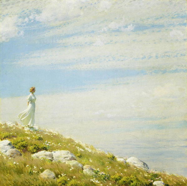 Wall Art - Painting - A Breezy Day by Charles Courtney Curran
