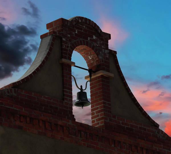 Wall Art - Digital Art - A Brick And Stucco Bell Tower In A Sunset Sky by Derrick Neill
