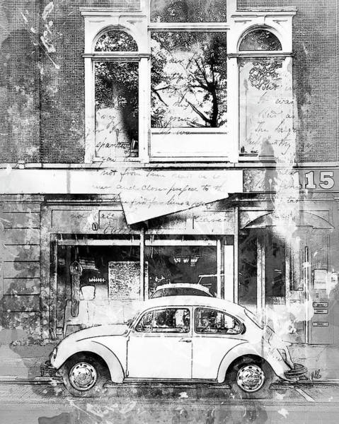 Car Drawings Mixed Media - A Bug About Town Bw by Melissa Smith