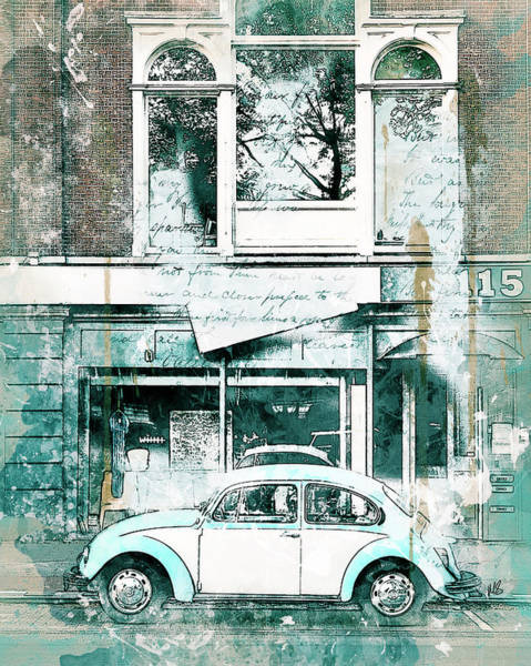 Car Drawings Mixed Media - A Bug About Town by Melissa Smith