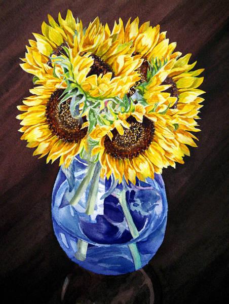 Flower Market Painting - A Bunch Of Sunflowers by Irina Sztukowski