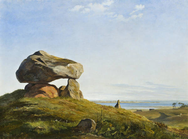 Painting - A Burial Mound From Ancient Times By Raklev On Refsnaes by Johan Thomas Lundbye