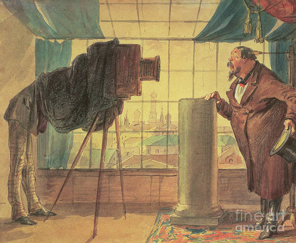 Wall Art - Painting - A Businessman At The Photographer's Studio, 1860 by Petr Mikhailovich Shmelkov