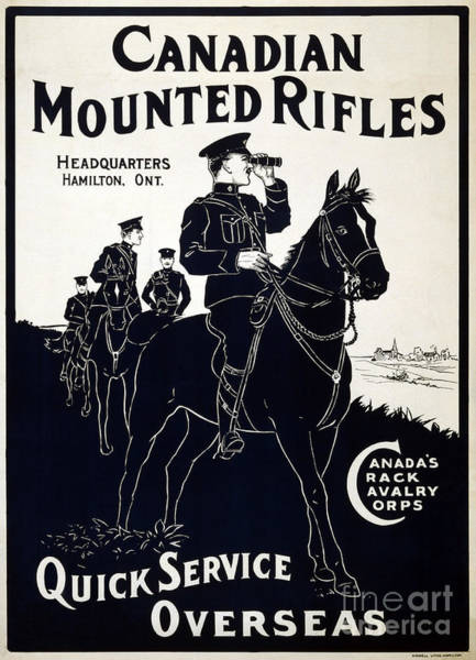 Painting - A Canadian Cavalry Recruitment Poster From Wwi by Celestial Images