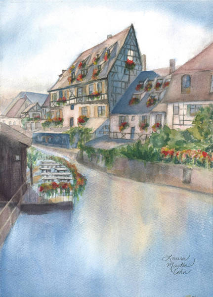 Half Timbered Painting - A Canal In Colmar by Laurie Martin-Cohn