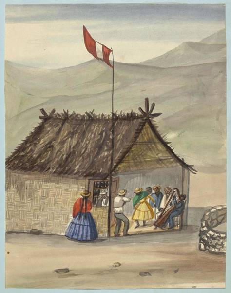 Painting - A Cane Rancho Or Hut Erected For The Purpose Of Dancing Lima Costumes, Ca. 1853 ,fierro, Pancho,  by Artistic Panda