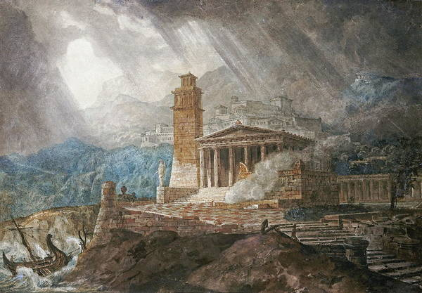 Gandy Wall Art - Painting - A Capriccio Of A Roman Port During A Storm by Joseph Michael Gandy