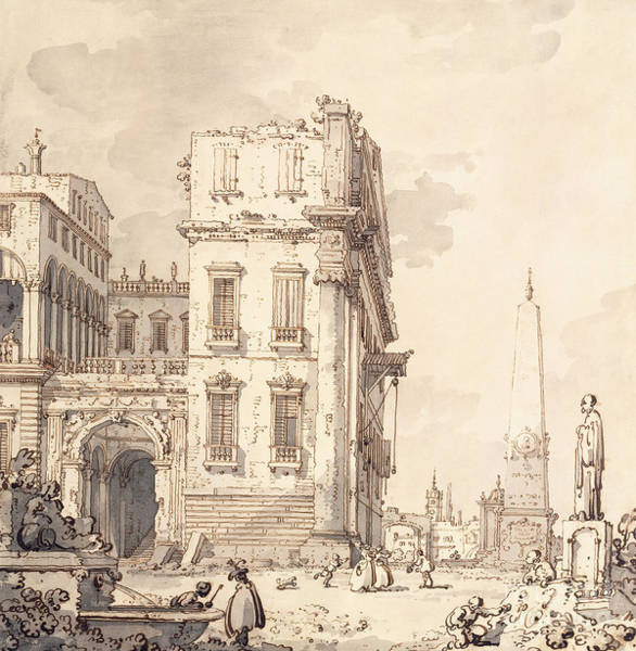 Wall Art - Drawing - A Capriccio Of A Venetian Palace Overlooking A Piazza With An Obelisk by Canaletto