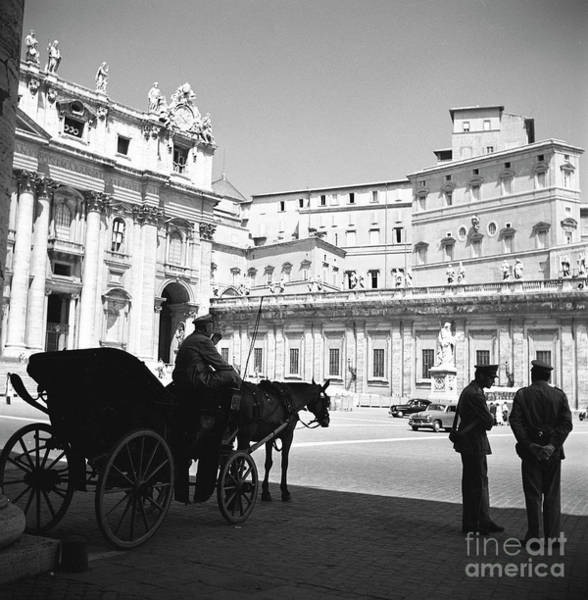 Wall Art - Photograph - A Carriage And Police At Vatican City, Rome, 1955 by The Harrington Collection