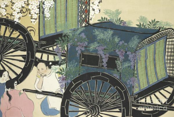 Wall Art - Painting - A Cart With Flowers by Kamisaka Sekka