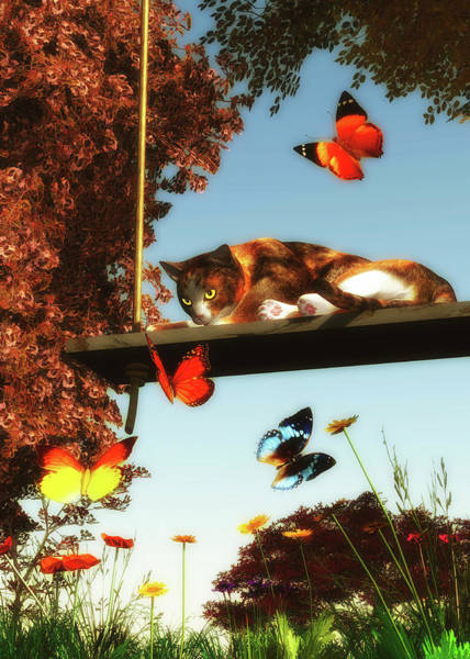 Painting - A Cat Looks At The Butterflies by Jan Keteleer