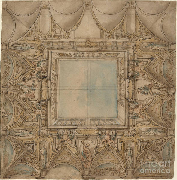 Wall Art - Drawing - A Ceiling Decoration With Landscapes And Battles by Lazzaro Tavarone