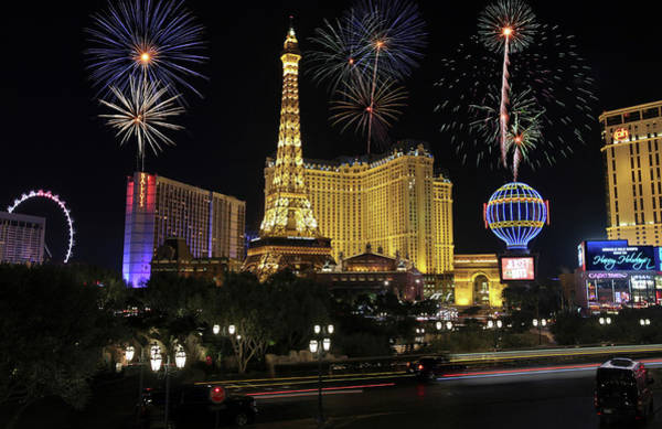 Wall Art - Digital Art - A Celebration At Bellagio And Las Vegas Blvd by Derrick Neill