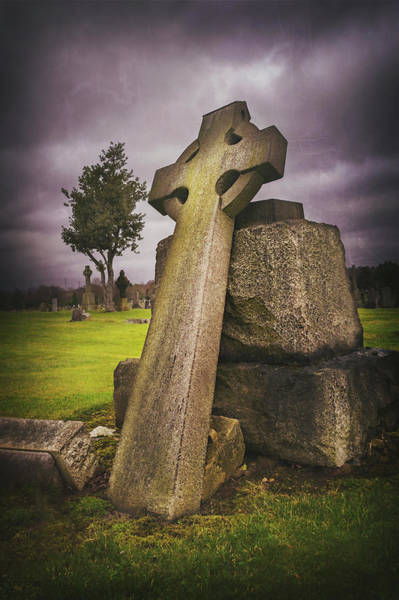 Cemetaries Wall Art - Photograph - A Celtic Cross In Glasgow Scotland by Carol Japp
