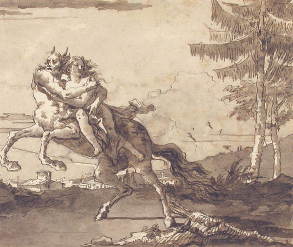 Nymph Drawing - A Centaur Abducting A Nymph by Giovanni Domenico Tiepolo