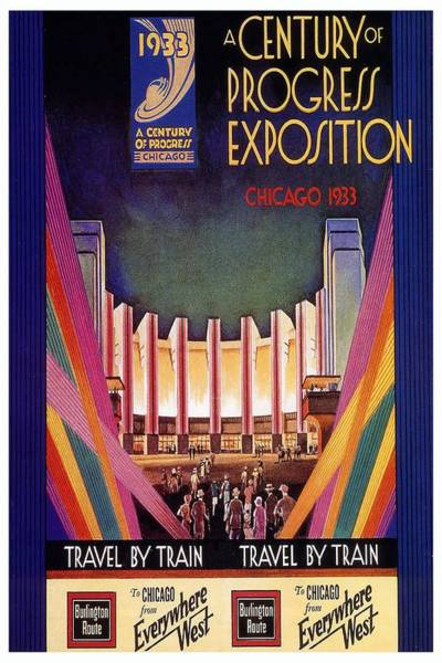 Vintage Chicago Painting - A Century Of Progress - Vintage Exposition Poster - Chicago by Studio Grafiikka