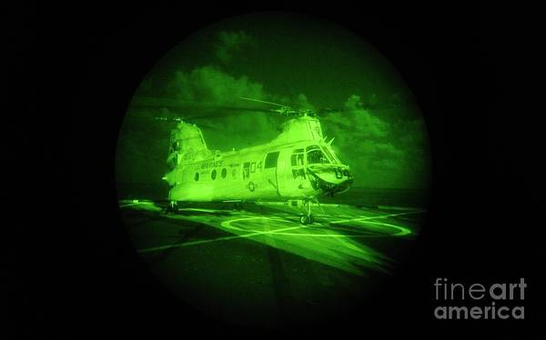 Ch Painting - A Ch-46 Sea Knight Helicopter Prepares For Takeoff by Celestial Images